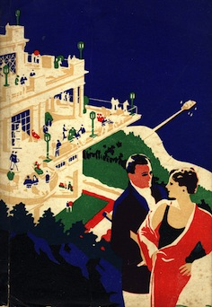 1920s 'FOLKESTONE', couple overlooking Hotel + sea landscape, block colour illustration