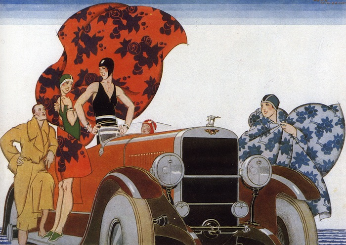 1920's beach wear fashion illustration