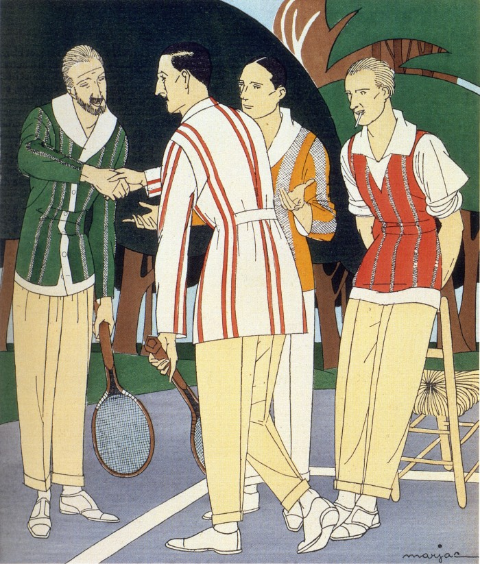 1920s, posh men at the tennis court, tennis playing clothes, holding rackets, two men shaking hands, illustration