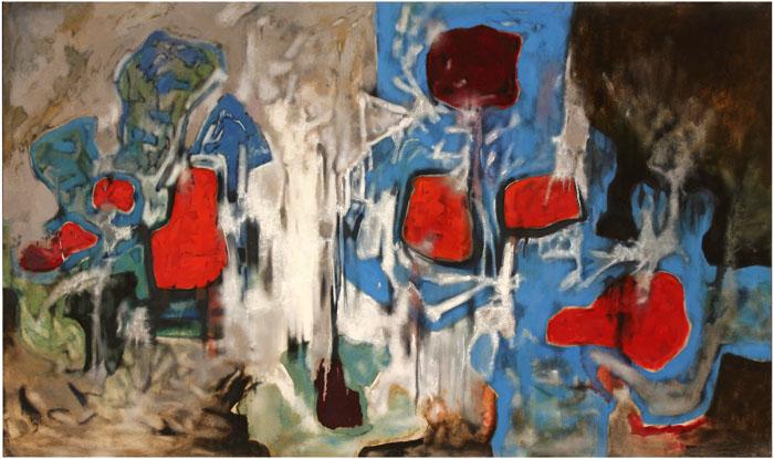 Aubrey Williams, Shostakovich 14th Symphony, Opus 135, 1981, oil on canvas, 153 x 274 cm