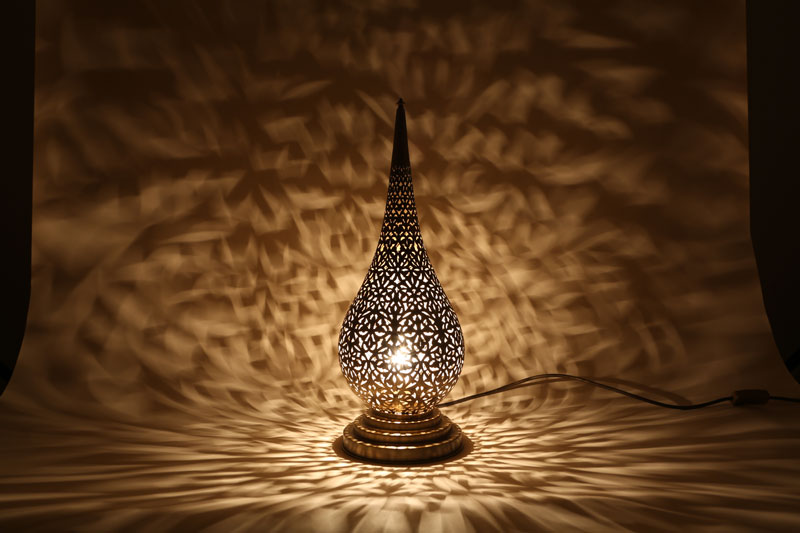 Silver Moroccan Flame Table Lamp
