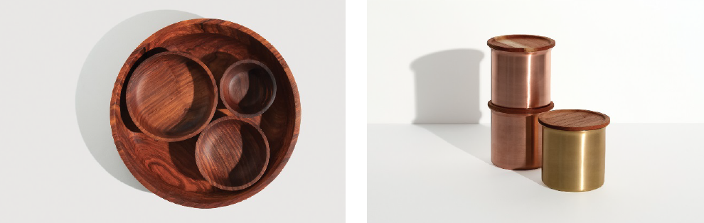 Seva or to serve in Sanskrit (left) is a turned rosewood platter with different sized bowls inspired by the concentric Indian Anjarapetti, Masala Dabba or spice box. Ayasa ( right) are stackable spun brass and copper containers, with lids made from Ayurvedic Neem wood that is antibacterial.