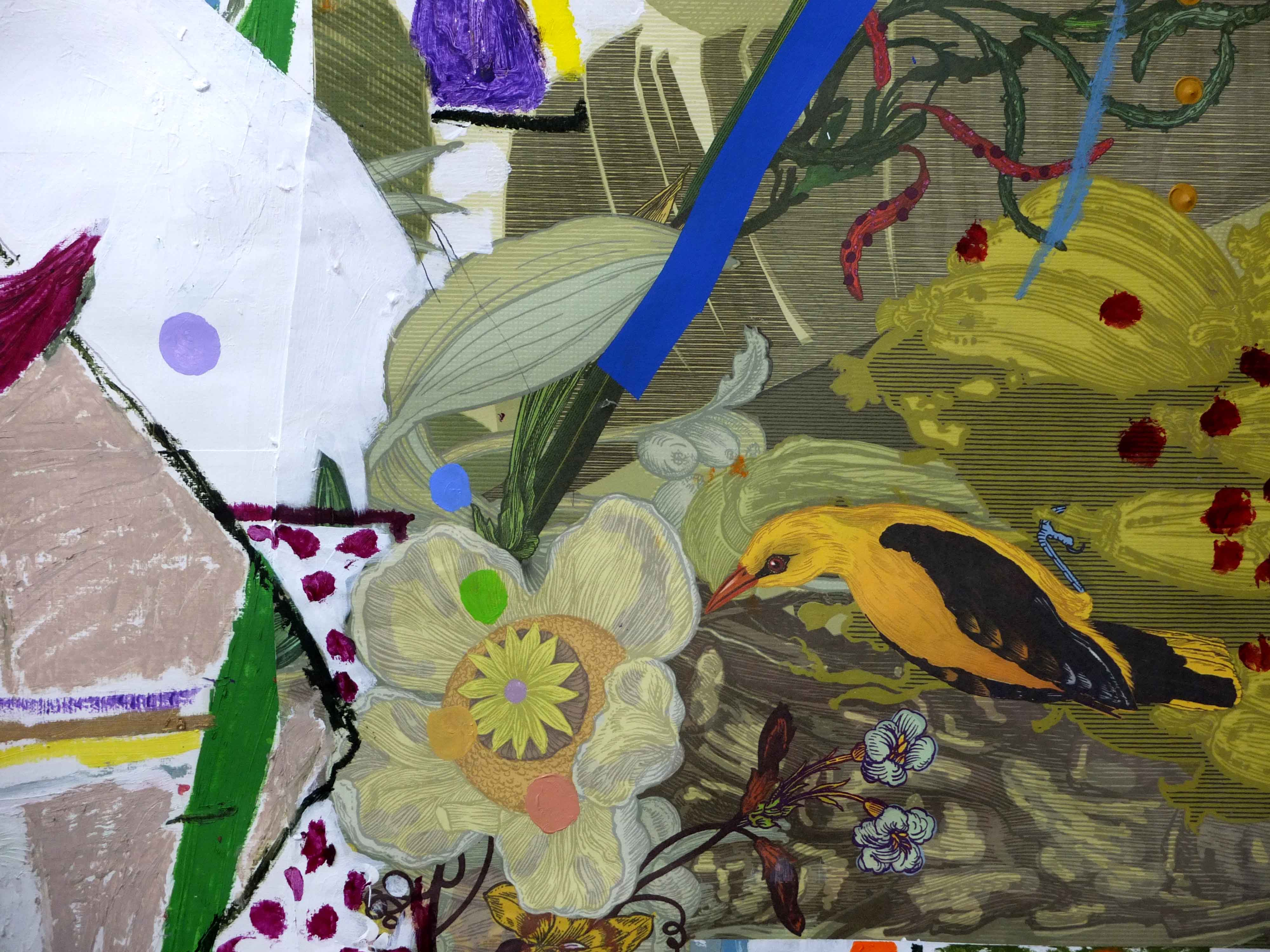 Birdsong, 2014 (detail 2) By Jonathan McCree Acrylic, oil and oil stick on collaged Timorous Beasties wallpaper