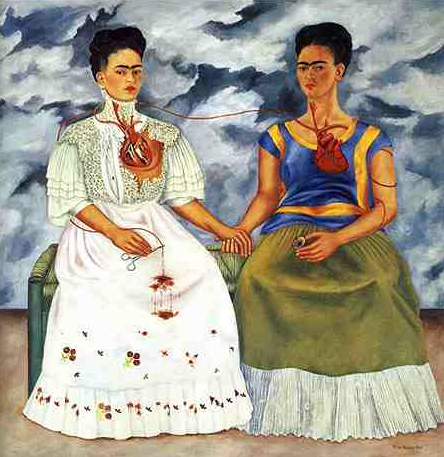 Painting Title: The Two Fridas 1939 67 x 67 Inches Collection of the Museo de Arte Moderno, Mexico City
