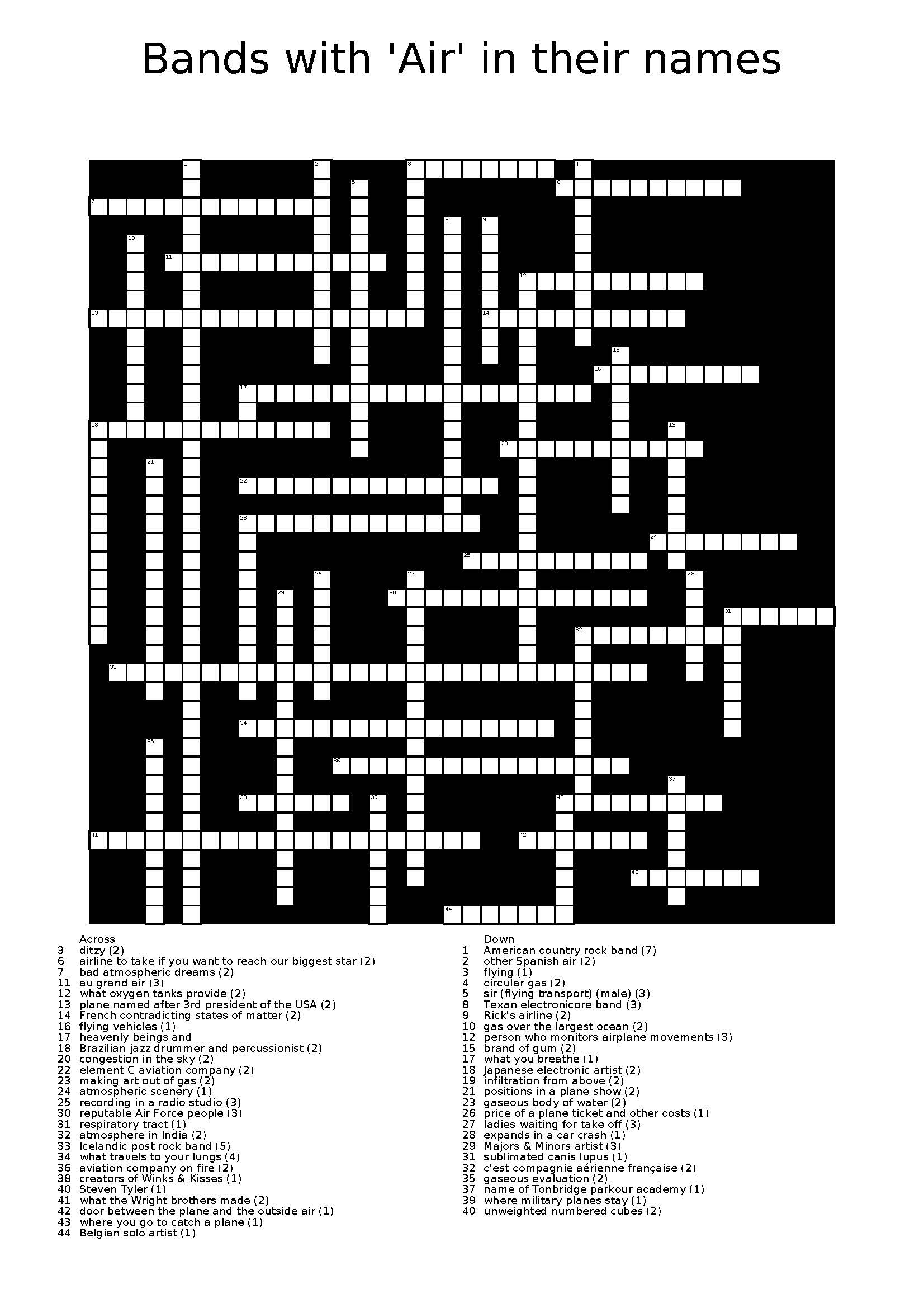 Cent Air Bands Crossword 1