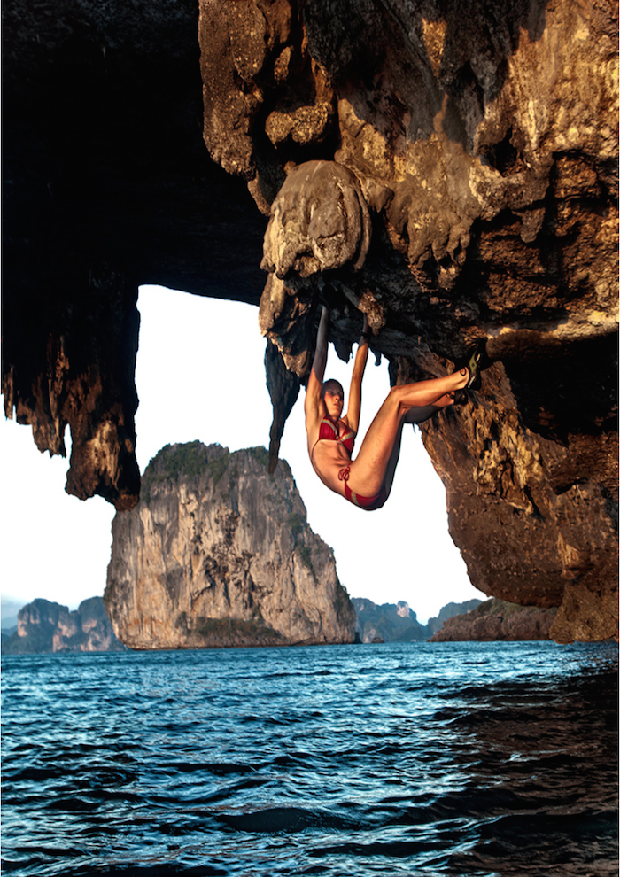 Jessa Younkers deep water solos on Poda Island, Thailand. Photo by David Clifford.