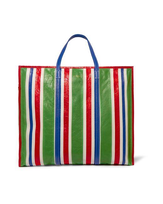 balenciaga-green-Bazar-Xl-Striped-Textured-leather-Shopper