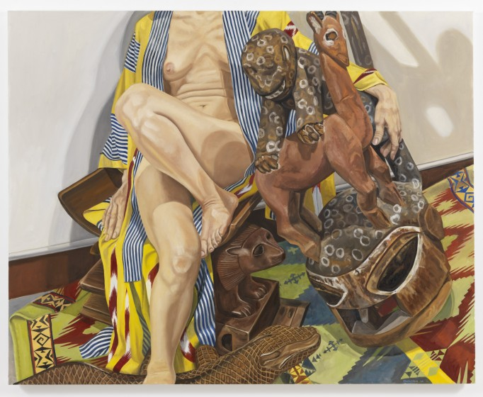 4. Philip Pearlstein, Model in Japanese Robe with African Carvings, 2009 © Philip Pearlstein. Courtesy Betty Cuningham Gallery