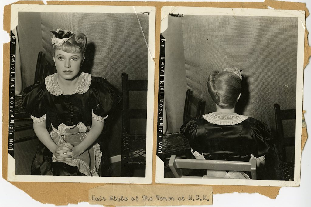 Mildred Shay on the set of The Women_hair style test by Sydney Guilaroff_front and back