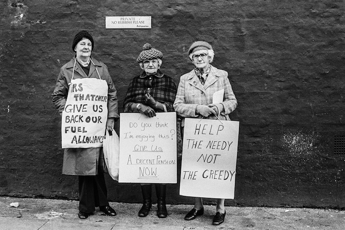 Pensioners protesting outside Thatcher's home, 1980