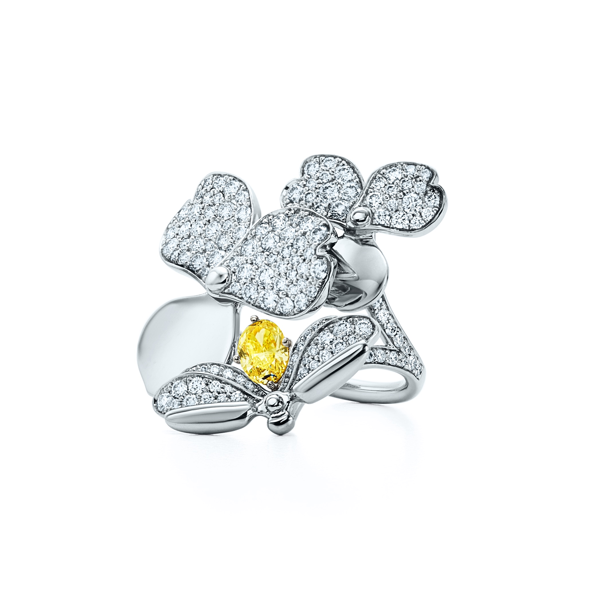 TPF Firefly ring in platinum with white diamonds and a yellow diamond