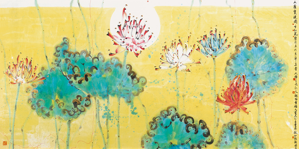 Dachan, 1 Da Luo Bao Jing Lotus, 2011, Ink and colour on paper, 69×138cm. Courtesy the artist