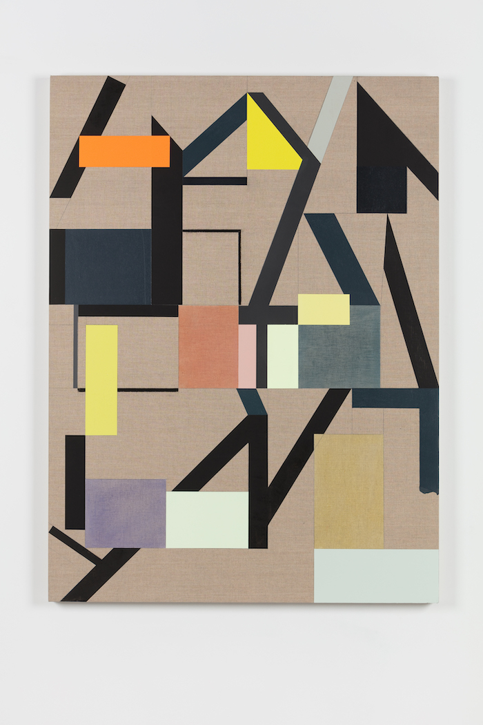 Andrew Bick, Variant t-s – OGVDS [compendium] #4, 2018, Acrylic, pencil, oil, watercolour, and wax on linen on wood, 135 x 100 x 4 cm, A_BIC0214, Photo by Angus Mill