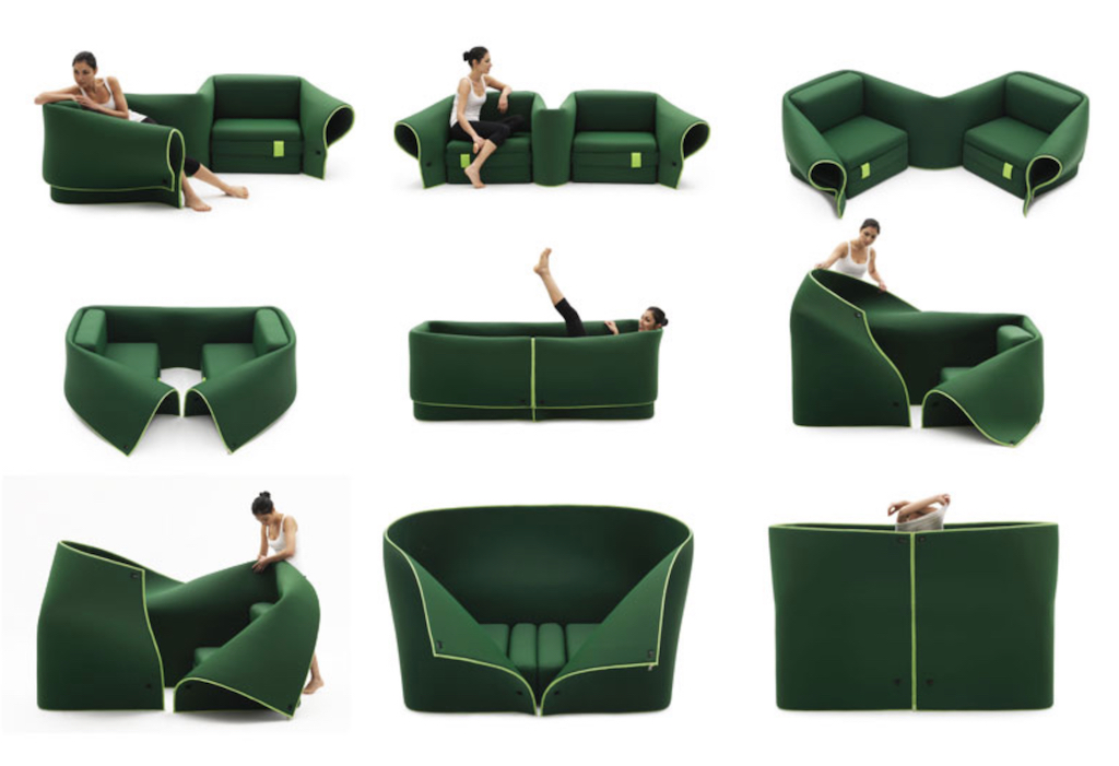 a green sofa with a lady folding it into different uses