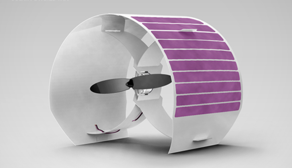 A small oval solar panel fan with pink strips