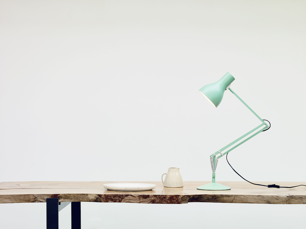 Maragret Howell light green desk lamp on wooden table