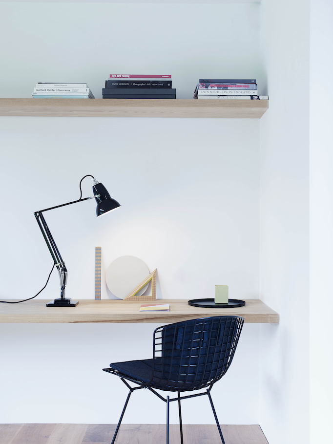 Original 1227 black desk lamp in a minimalistic office space and desk.