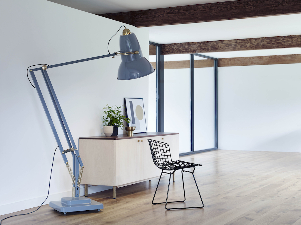 duck blue Giant Anglepoise floor lamp in a open plan space