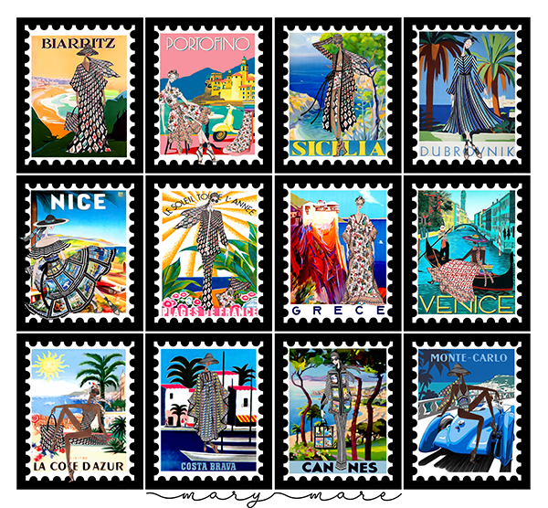A collage of 12 stamps with women in the Mary-Mare collection, in different locations
