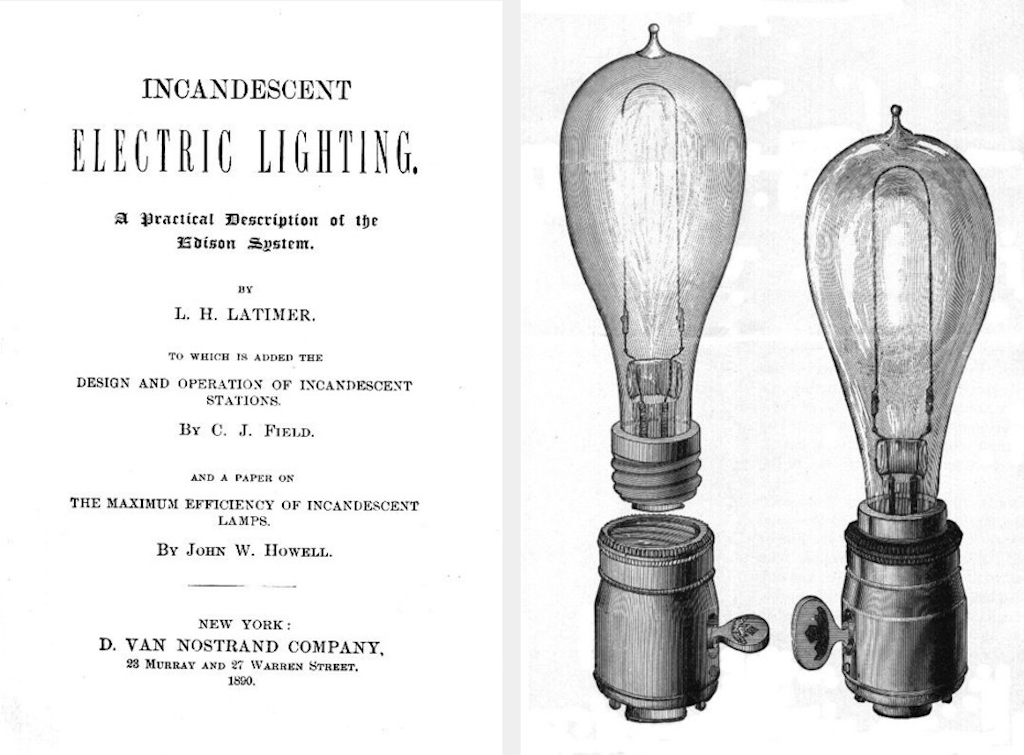Black and white illustration of the electric light bulb