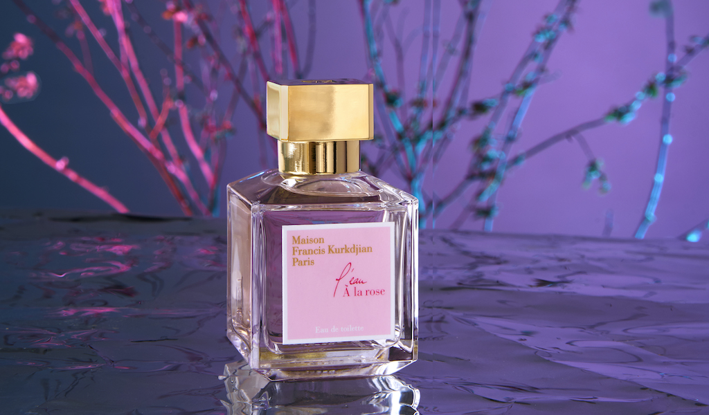 Maison Francis Kurkdjian's rose collection perfume bottle with gold leaves